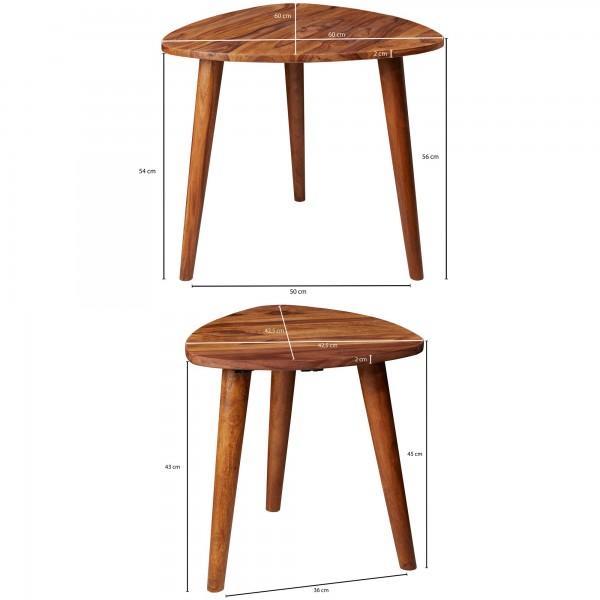Design  Zweiteiliger Satztisch im rustikalen Landhausstil Natuerlich gehaltene Tischplatten mit massiven Standbeinen Abmessungen B x H x T  Grosser Tisch: 60 x 54 x 60 cm Kleiner Tisch: 42,5 x 45 x 42,5 cm  Tischplattenstaerke: 2 cm Farbe   Komplette