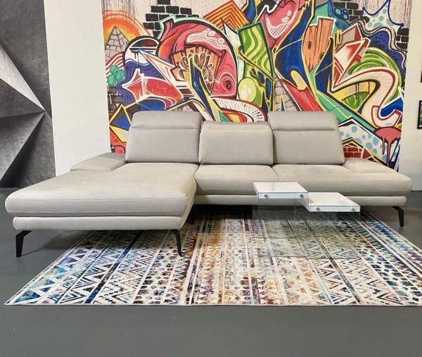"""Sofa """"Rubio"""" mit Sitztiefenverstellungen Hellgrau Luxus-Webstoff/Fein 177 x 287 cmAusstellungsstück"""