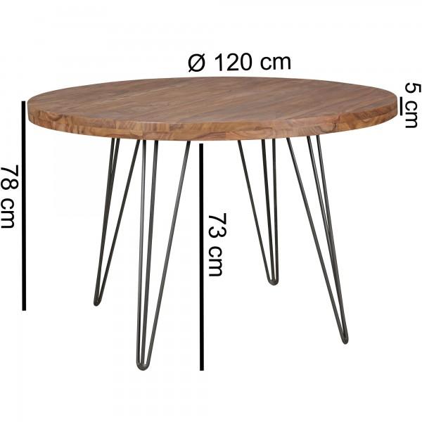 Design  Runder Landhaus-Esszimmertisch mit grosszuegiger Tischplatte Tisch besitzt vier filigrane Haarnadelbeine mit je drei Streben Farbe des Holzes sorgt fuer ein angenehm warmes Ambiente Abmessungen  Durchmesser der Tischplatte: 120 cm Tischhoehe: