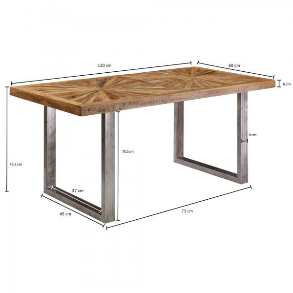 Design  Hochwertiger Esszimmertisch im rustikalen Design Anmutige Tischplatte durch die schoene Maserung des Mangoholzes Die glaenzenden Metallbeine verleihen dem Tisch eine elegante Frische Durch die Groesse ist der Tisch fuer bis zu sechs Personen