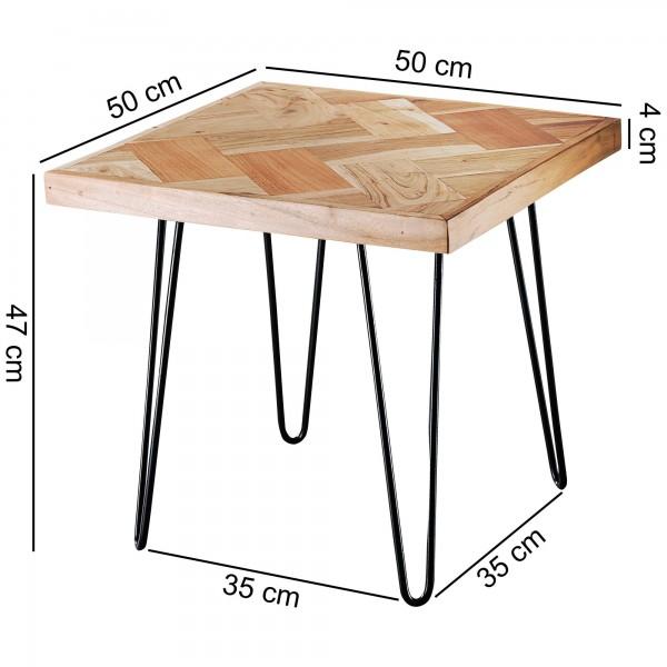 Design  Beistelltisch im modernen Industrial-Style Detailreiche Oberflaechenstruktur der Tischplatte Fester und stabiler Stand durch solide Haarnadelbeine Abmessungen  Breite: 50 cm Hoehe: 47 cm Tiefe: 50 cm Tischplatte 4 cm Holz Abstand zwischen den