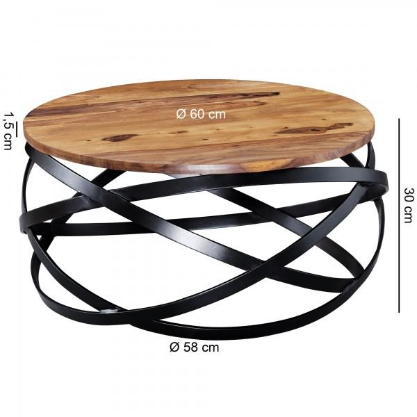 Design  Auffaelliger Couchtisch im angesagten Industrial-Stil Runde Tischplatte zur Ablage von diversen Utensilien Fester Stand dank des ineinander verschlungenen Metallgestells Abmessungen  Breite: 60 cm Hoehe: 30 cm Tiefe: 60 cm Hoehe der Tischplat