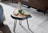 Beistelltisch Akazie Massivholz / Metall Industrial 40x40x32cm Baumkante | Wohnzimmertisch Sofatisch Massiv Haarnadelbeine | Kleiner Anstelltisch Tisch...