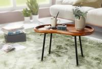 Design  Couchtisch in angesagter Retro-Optik Tischplatte mit der typischen Nierenform der 50er-Jahre Fester Stand dank der stabilen Metallbeine Abmessungen...