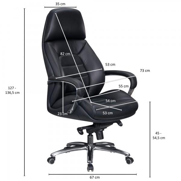 Design  Bequemer XXL Chefsessel mit besonders breiter Rueckenlehne und Sitzflaeche Sitzflaeche und Rueckenlehne sind ergonomisch geformt Elegante und ueppige Polsterung mit hochwertigem Bezug Massive Aluminium-Armlehnen mit weicher Lederoptik-Polster