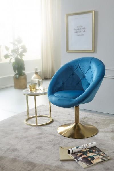 Design  Gemuetlicher Loungesessel mit Chesterfield Muster Attraktive Farbkombination aus Blau und Gold Angenehm weiche Sitzschale fuer gemuetliche Stunden Fester Stand dank des stabilen Trompetenfusses Abmessungen  Breite: 67 cm Hoehe: 80 - 100 cm Ti
