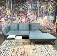 Ecksofa Dover mit Sitztiefenverstellungen BlauDunkelgrau Luxus-WebstoffFlachgewebe Ausstellungsstü