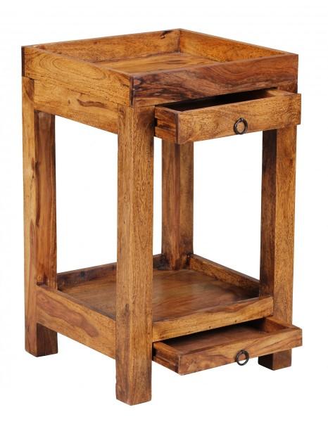 Wofuer geeignet? Mit einer Breite und Tiefe von 39,5 cm ist der Tisch individuell einsetzbar und zudem platzsparend - Ideal als Abstellmoeglichkeit in Ecken platzierbar - Schubladen und Ablagefach als zusaetzlicher Stauraum   FSC® zertifizierte Ware