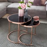 Design  Zweiteiliges Satztisch-Set im modernen &amp  unverwechselbaren Design  Spiegelnde Tischplatte auf kupferfarbenem Gestell   Abmessungen  Grosser...