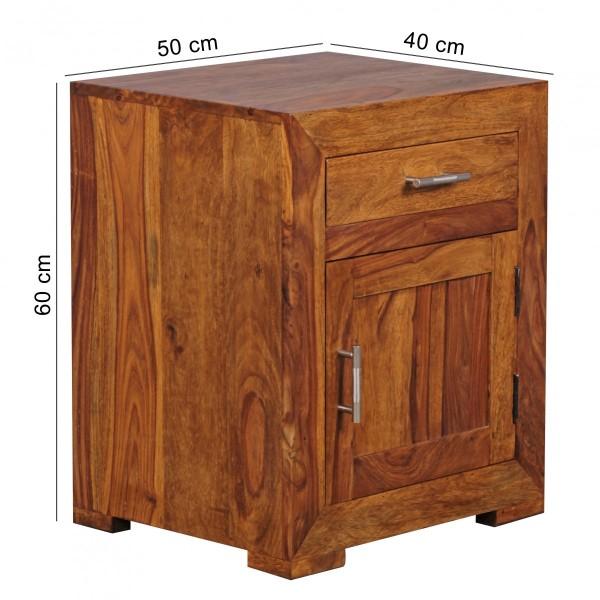 Sie sind auf der Suche nach einem modernen und praktischem Nachttisch fuer Ihr Schlafzimmer? Massivholz-Nachtkonsole von WOHNLING.   Wofuer geeignet? Durch die Hoehe von 60 cm ist diese Nachtkonsole auch ideal fuer Boxspringbetten geeignet.    FSC®