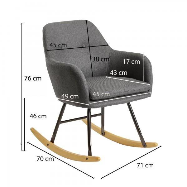 Design  Gemuetlicher Schaukelstuhl im skandinavischen Design Extra weiche Sitzschale fuer gemuetliche Stunden Wippfunktion aufgrund der gebogenen Holzbeine Abmessungen  Breite: 71 cm Hoehe: 76 cm Tiefe: 70 cm Sitzflaeche (BxT): 45 x 43 cm Sitzhoehe: