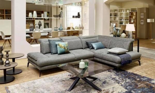 Ecksofa Rubio mit Sitztiefenverstellungen & Kopflehnenfunktion Grau Luxus-Webstoff
