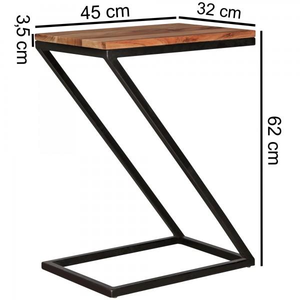 Design  Moderner Massivholz Beistelltisch mit Metallgestell Anstelltisch in Form eines Z Natuerliche Maserung des Edelholz Abmessungen  Breite: 45 cm Hoehe: 62 cm Tiefe: 32 cm Staerke Ablageflaeche: 1,5 cm Staerke Metallgestell: 2 cm Farbe  Gestell: