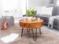 Design  Auffaelliger Couchtisch in modernem Design Runde Tischplatte zur Ablage von diversen Utensilien Zusaetzlichen Stauraum bieten die zwei Schubladen...