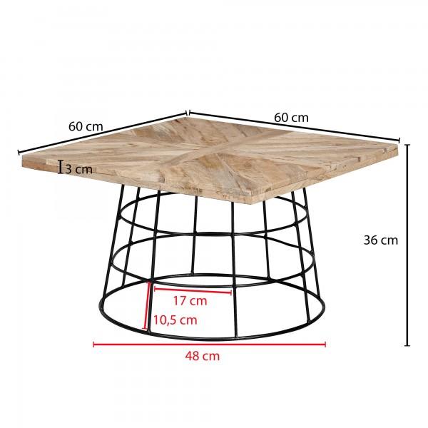 Design  Auffaelliger Couchtisch im angesagten Industrial-Stil Eckige Tischplatte auf rundem Tischgestell Offenes und extravagantes Metallgestell Abmessungen  Breite: 60 cm Hoehe: 36 cm Tiefe: 60 cm Tischplattenstaerke: 3 cm  Weitere Abmessungen finde