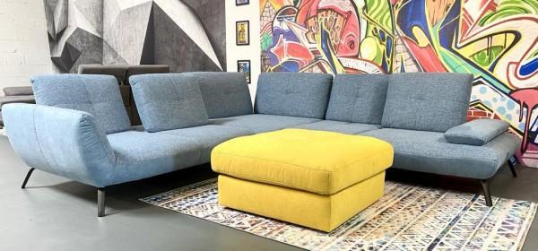 Ecksofa Dover mit Sitztiefenverstellungen eisblau Luxus-Webstoff/Mikrofaser