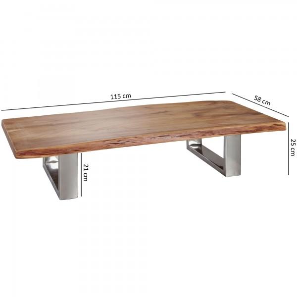 Design  Couchtisch im charakterstarken Landhaus-Stil Rechteckige Tischplatte zur Ablage von diversen Utensilien Baumkanten an den langen Tischkanten als absoluter Hingucker Fester Stand dank der stabilen Metallbeine Abmessungen  Breite: 115 cm Hoehe: