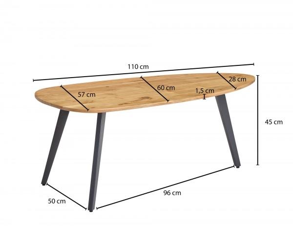 Design  Massiver Couchtisch in modernem Design Tischplatte in aussergewoehnlicher Nierenform  Fester Stand dank der stabilen Metallbeine Abmessungen  Breite: 110 cm Hoehe: 45 cm Tiefe: 60 cm Staerke der Tischplatte: 1,5 cm Weitere Abmessungen finden