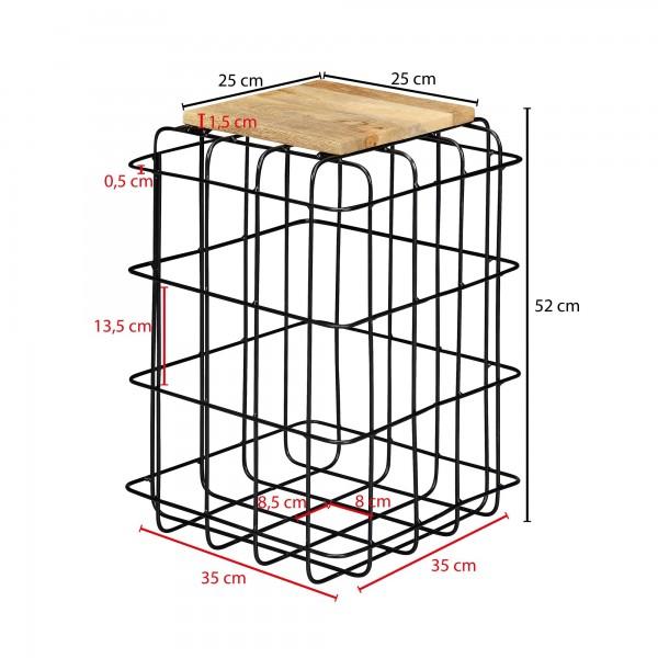Design  Beistelltisch im angesagten Industrial-Design Stimmiger Materialmix aus warmem Holz und kuehlem Metall Offenes und extravagantes Metallgestell Abmessungen  Breite: 35 cm Hoehe: 52 cm Tiefe: 35 cm  Tischplattenstaerke: 1,5 cm Tischplatte (B x