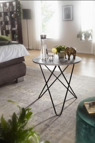 Design  Schlichter Beistelltisch in modernem Design Wohnzimmertisch in runder Form Harmonische Farbgebung von Gestell und Tischplatte Abmessungen  Breite: 60 cm Hoehe: 58,5 cm Tiefe: 60 cm Tischplattenstaerke: 2 cm Maximale Belastbarkeit: 15 kg Farbe
