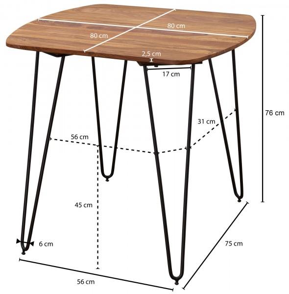 Design  Esstisch als Blickfang durch sein modernes Design Quadratische Tischplatte mit abgerundeten Ecken Haarnadelfoermige Beine aus Metall Abmessungen  Breite: 80 cm Tiefe: 80 cm Hoehe: 76 cm Besonderheiten  Hohe Stabilitaet durch das Metallgestell