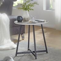 Design  Beistelltisch in Marmor Optik Stylischer Blumentisch in angenehmer Farbkombination Moderner Kaffeetisch mit schwarzen Beinen Abmessungen  Breite: 50...