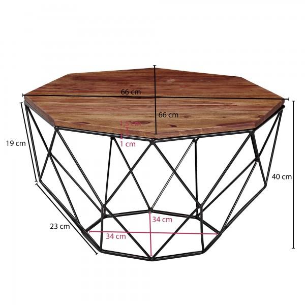 Design  Auffaelliger Couchtisch im angesagten Industrial-Stil Achteckige Tischplatte zur Ablage von diversen Utensilien Offenes und extravagantes Metallgestell  Abmessungen  Breite: 66 cm Hoehe: 40 cm Tiefe: 66 cm Tischplattenstaerke: 1,5 cm Weitere
