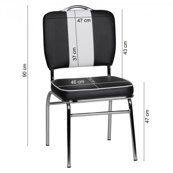 Design  American Diner Stuhl im Retro Vintage Design  Farblich abgesetzte Naehte in Weiss  Ueppige und bequeme Sitz- und Rueckenpolsterung  Ruecken mit einem weissen Streifen in der Mitte Vier elegant geschwungene Standfuesse Masse ca.  Hoehe: 90 cm