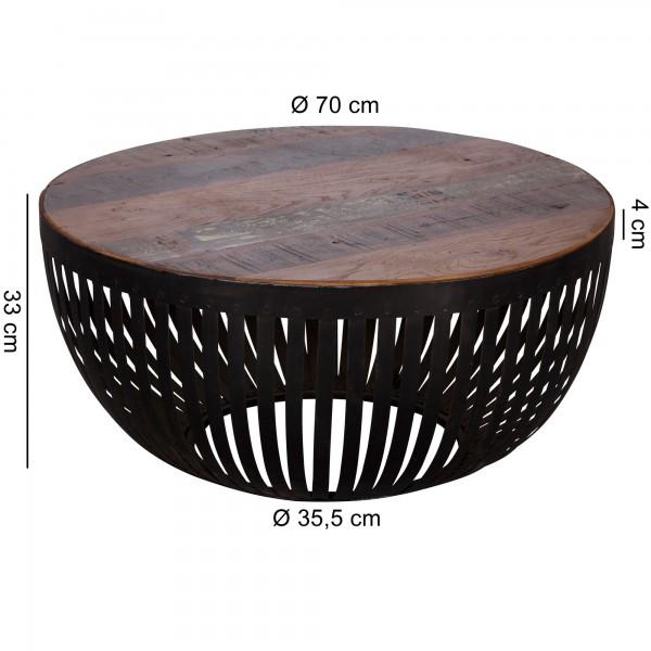 Design  Extravagantes Industrial-Design Runde Tischplatte aus dunkel- und hellbraunem Holz Schwarzes Metallgestell gibt festen Halt Abmessungen  Breite: 70 cm Hoehe: 33 cm Tiefe: 70 cm Weitere Masse koennen Sie dem entsprechenden Massbild entnehmen F