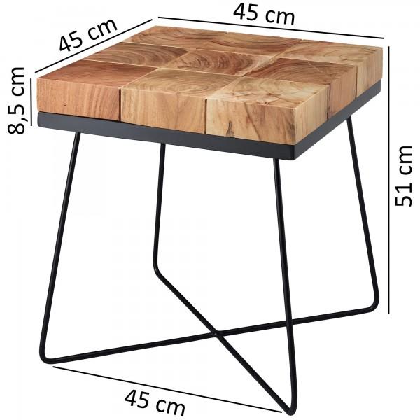 Design  Beistelltisch im modernen Industrial-Style Neun quadratische Holzbausteine bilden die Tischplatte Fester und stabiler Stand bietet das Metallgestell Abmessungen  Breite: 45 cm Hoehe: 51 cm Tiefe: 45 cm Tischplatte Hoehe: 6 cm Holz // 2,5 cm M