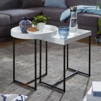 Design  Tabletttisch-Set im schlichten, modernen Design Das Set besteht aus einem runden und einem rechteckigen Tisch Stimmiger Farbkontrast setzt spannende...